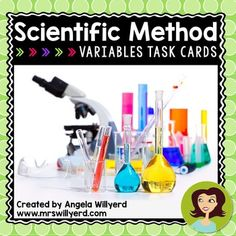 """Great task cards to help students analyze a scientific lab scenario and identify the independent, dependent, and controlled variables.  Ten task cards are included with and without QR Codes that help to provide instant feedback to the student.  Use as a whole class """"Scoot!"""" activity or individual remediation / test prep. #scichat #education"""