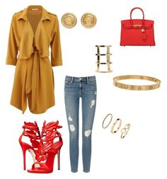 """""""Casual fab"""" by aieasham on Polyvore featuring Frame Denim, Giuseppe Zanotti, Hermès, Cartier, H&M and Versace"""