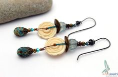 Medley of blues and beige - long dangle earrings in blues and beige with lampwork glass by esferajewelry on Etsy