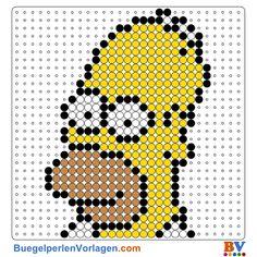 Die Simpsons Bügelperlen Vorlage. Auf buegelperlenvorlagen.com kannst du eine große Auswahl an Bügelperlen Vorlagen in PDF Format kostenlos herunterladen und ausdrucken.
