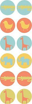 Zoo Animals Circle Stickers $2.50