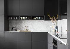 Kitchen Colors: 60 Ideas, Tips and Combinations - Home Fashion Trend Kitchen Furniture, Kitchen Dining, Kitchen Decor, Kitchen Cabinets, Interior Design Kitchen, Interior Design Living Room, Kitchen Colour Combination, Sober Living, Cuisines Design
