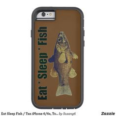 Eat Sleep Fish / Tan iPhone 6/6s, Tough Xtreme Case-Mate iPhone Case