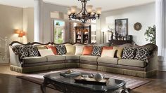 Cozy up on this traditional styled sectional. Classically upholstered in autumn bronze canvas fabric, this beautiful piece comfortably seats up to 6-7 persons. With an option to expand seating, the armless chair can be continuously added. Dark cherry wood trim and nail heads amplify the beauty of this sectional in addition to the pillows that come included for that extra charm. All decorative pillows are included with this set.