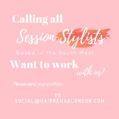 ATTN 📢 Session Stylists based in the South West 📢  Want the chance to work with Hair Rehab London on a very exciting project?   Please send your portfolio to - social@hairrehablondon.com 💋   #BehindTheChair #SessionStylist #HairGoals #ExcitingOpportunity Hair Rehab London, London Blog, Hair Goals, Stylists