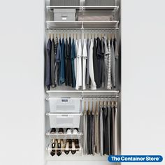 "Our exclusive Elfa Classic 3' White Reach-In Closet maximizes every inch of closet space with drawers, hanging space, and shoe storage. This solution is designed for a 39"" space, and can be adjusted or redesigned to accommodate your specific needs. Reach In Closet, Closet Space, Open Closets, Dream Closets, No Closet Solutions, Storage Solutions, Storage Ideas, Small Closet Organization, Clothing Organization"