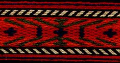 Motifs from a central North Bulgarian woman's belt. This belt wraps several times around the waist, and has motifs separated by blank spaces along its length. The diversity of pattern is typical of this genre of cardwoven belts. The ends of festive belts have elaborate warp-wrapping, in stylized geometric motifs. Typically the wearer would make sure that the decorated end would be tucked so that it fell hanging down over her hip.