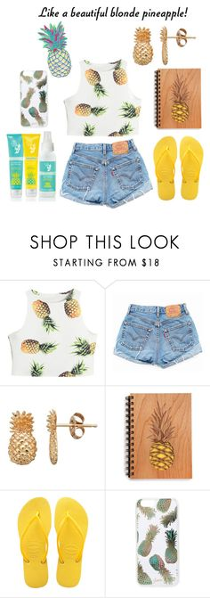 """""""Blonde Pineapple~"""" by deep-quotes ❤ liked on Polyvore featuring Levi's, Havaianas, UNIF, Sonix, Summer, pineapple and contestentry"""