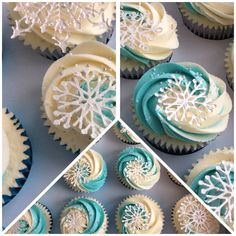 Love these!! Frozen theme cupcakes
