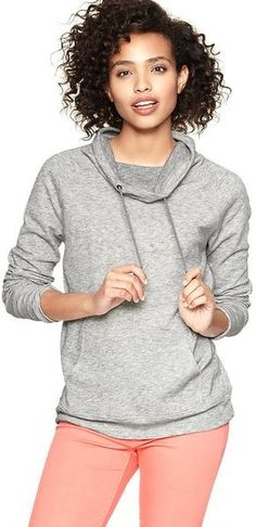 Marled Terry Funnel Pullover - Lyst