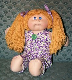 OOAK Coleco Cabbage Patch Doll w/ hand-crafted outfit - pants and top with vintage button and matching hair bows. OK factory paci head mold.