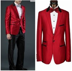 Free shipping/2014 custom made cheap/red jacket,black pant. Best ...