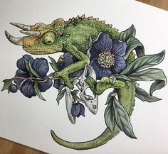 Flower Drawing Jackson's Chameleon - inch print on textured paper Signed Ships flat between cardboard Inspiration Art, Art Inspo, Tattoo Drawings, Art Drawings, Flower Drawings, Drawing Flowers, Lizard Tattoo, Art Du Croquis, Cute Reptiles