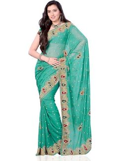 Green #Georgette Saree  Check out this page now :-http://www.ethnicwholesaler.com/sarees-saris/georgette-sarees
