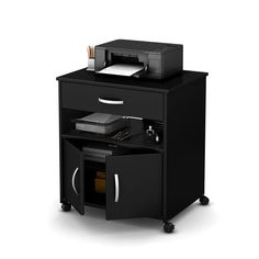 Free up space on your desktop by moving your printer to the Axess Printer Cart on Wheels by South Shore . Mounted on locking caster wheels, the printer. Printer Cart, Printer Stand, Printer Desk, Cartwheel, Thing 1, Engineered Hardwood, Working Area, Adjustable Shelving, Large Prints