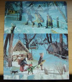 J. Hanuš- vánoční pohlednice, sada 2 ks Czech Republic, Sad, Seasons, Painting, Seasons Of The Year, Painting Art, Paintings, Painted Canvas, Bohemia
