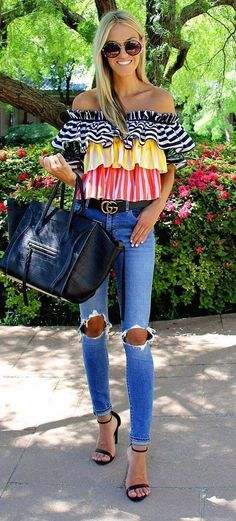 summer office outfit: off shoulder top   rips   bag