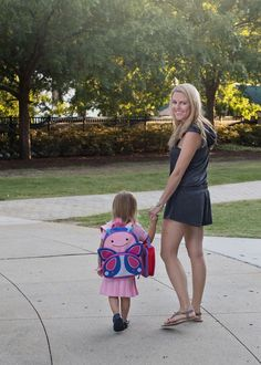 Back to school is the perfect time to buy new outfits for the whole family as well as cute school gear! Check out this look and others in our Back to School with Zappos post! This romper is so comfortable and easy to throw on for drop off and pickup, and Maddie Grace is obsessed with her new backpack and this picture perfect dress! #sponsored #ZapposStyle