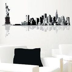 Love the city scape idea. New York Cityscape Vinyl Wall Decal ... & New York Wall Decal (City Skyline Theme Black Vinyl Wall Sticker ...