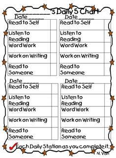 Daily Five Student Checklist printable, I could make this so it is taped to desk and they can dry erase check mark!