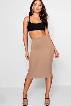 1785bab02 Basic Jersey Midi Skirt - boohoo, how to wear a skirt, fashion, outfit