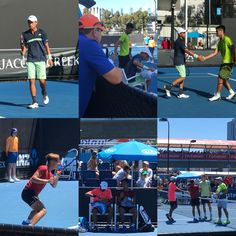 Pictures from @mutao521 and his doubles partner's doubles junior @australianopen action as well as @christian_didierallehz and his doubles partner's match. Both players made it to the second round in doubles as well as singles. As we mentioned before @mutao521 was one point away for beating the highest ATP ranked player in the junior main draw. It was a great match. A lot to look forward in 2018. #AustralianOpen