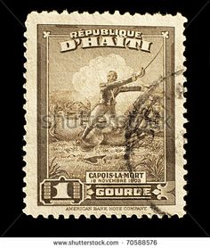 HAITI - 1946: old stamp with the Haitian rebel slave Capois La Mort during the battle of Vertieres in 1803, Haiti, 1946.