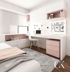 FOR EVERYTHING for this kitchen! What a beautiful combination of gold, rose and – Zimmer deko ideen - Diy Furniture Room Design Bedroom, Girl Bedroom Designs, Small Room Bedroom, Room Ideas Bedroom, Dream Bedroom, Girls Bedroom, Bedroom Decor, Master Bedroom, Bedroom With Office