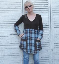 Reserved Brown and Aqua Tunic Upcycled Tunic by AnikaDesigns, $48.00
