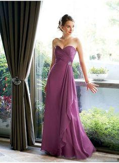 Cheap A-Line Chiffon Sweetheart Sleeveless Floor-Length Bridesmaid Dress