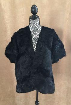 Beaver Stole Black fur women Vintage cape shawl wrap coat vintage caplet #Brandeis #Cape #Formal