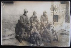 ORIGINAL PHOTOGRAPH Photo, WWII DISPATCH RIDERS on MOTORCYCLES, Italy dated 1943.