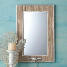 Beach House Whitewash Mirror @By the Sea Beach Decor
