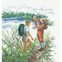 Thea Gouverneur counted-cross-stitch Kit Hiking On Aida