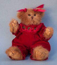 "Bearington Christmas Bear Holly Wreaths Bows Dark Red Romper 11"" Plush Toy"