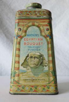 Vintage J.R. WATKINS CO. EGYPTIAN BOUQUET TALCUM POWDER Tin, Winona, Minn.