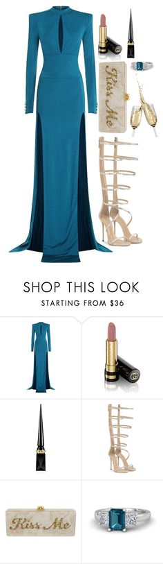 """Untitled #1703"" by mihai-theodora ❤ liked on Polyvore featuring Balmain, Gucci, Christian Louboutin, Edie Parker and Gemvara"