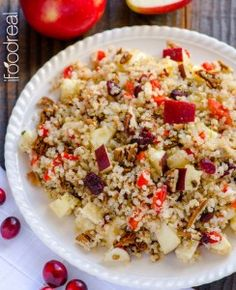 Quinoa Salad with Apples, Cranberries, Pecans & Maple Basil Dressing