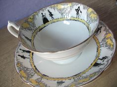 Antique 1800's Royal Vienna demitasse teacup and saucer, Victorian tea cup, hand…