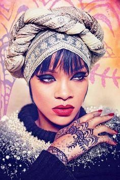 Rihanna wearing a wrap http://jfrassini.com For head wraps