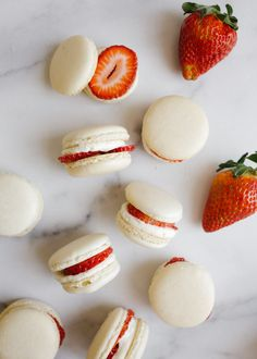 Strawberry Shortcake Macarons and Mothers Day gift guide by wood and spoon. These are simple homemade macarons filled with whipped cream, strawberry jam, and fresh fruit. These taste like a shortcake in cookie form. Gifts for moms on your list including cookbook, jewelry, beauty and home supplies, and more. Read all about these fancy spring desserts and learn how to make them on thewoodandspoon.com