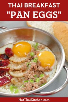 Eggs and meats of your choice are cooked together and served in a personal pan. Recreate Thai street food at home! Spicy Recipes, Asian Recipes, Laos Recipes, Asian Foods, Vegetarian Recipes, Kitchen Recipes, Cooking Recipes, Thai Cooking, Egg Recipes For Breakfast