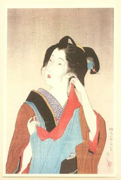 Light Snowfall, Kaburagi Kiyokata  (鏑木清方),  a leading master of bijinga genre (beautiful women) in shin-hanga and painting. His home has been turned into a memorial museum to display his works and preserve his studio.
