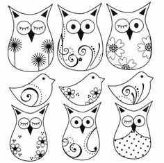 Anmutige Kratzer (süße Zeichnungen): Owls Scratches - Every Non Owl Patterns, Embroidery Patterns, Diy Plastique Fou, Colouring Pages, Coloring Books, Shrink Art, Owl Crafts, Owl Bird, Cute Owl