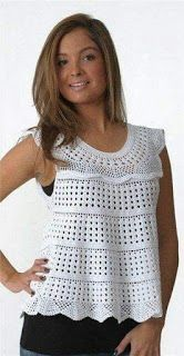 Free Crochet Pattern Crochet Sleeveless Shirts by joann Luty Arts Crochet: Crochet in blouse + graphic Crochet top with diagrams - I want to do just the collar & add a fabric body Beach crochet tunic pattern, sexy crochet tunic pattern, tutorial in ENGLIS Débardeurs Au Crochet, Crochet Tunic Pattern, Pull Crochet, Beach Crochet, Mode Crochet, Crochet Shirt, Crochet Woman, Crochet Cardigan, Top Pattern