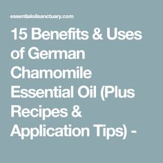 15 Benefits & Uses of German Chamomile Essential Oil (Plus Recipes & Application Tips) - Essential Oils For Face, Essential Oils For Headaches, Essential Oil Uses, Young Living Essential Oils, German Chamomile Essential Oil, Chamomile Oil, Frankincense Essential Oil, Chamomile Recipes, Recipe Application