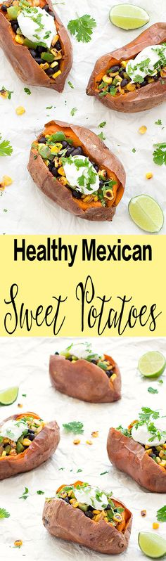Healthy Mexican Baked Sweet Potatoes: baked sweet potatoes are filled with black beans, corn, pepper; topped with lime-infused sour cream and sprinkled with chopped cilantro. A delicious, filling and healthy recipe! Great option for vegetarians and vegans (omit the sour cream or use vegan sour cream).