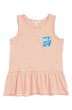 Free shipping and returns on Tucker + Tate Stripe Peplum Tank (Toddler Girls, Little Girls & Big Girls) at Nordstrom.com. A contrasting patch pocket adds a playful touch to a smartly striped tank with a ruffly peplum hem.