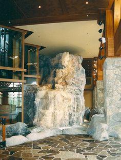 Indoor waterfall! - artificial rock - Granite - rockscapes   #Rockscapes #fakerock #artificialrock