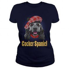 I Love Funny Smiling Dog American Cocker Spaniel In Red Scottish Tam Shirt; Tee